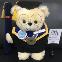 Boneka Wisuda Custom Teddy Bear Cream +-40cm with Kacamata