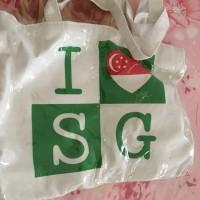 Tas tote bag i love singapore ori