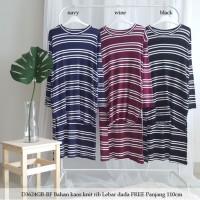 Tunik kaos knit stripe loose tunic blouse muslim hilow top wanita 3624