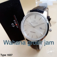 Jam tangan pria HEGNER 1637 tali kulit hitam body silver