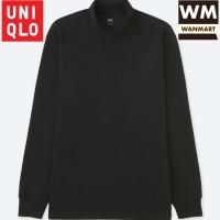 UNIQLO Men Kaos Pria Soft Touch Mock Neck Lengan Panjang Black