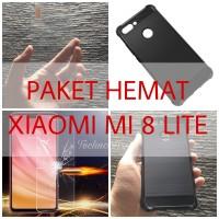 [PAKET] Xiaomi Mi 8 Lite Premium Tempered Glass + Armor Case Mi8 Lite