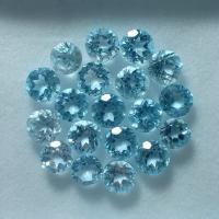 Natural Blue Topaz Sky Mata cincin 5mm tabur perhiasan batu mulia asli
