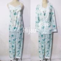 baju tidur piyama kimono 3in1 dewasa wanita satin lengan panjang