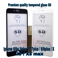 Tempered glass warna full 5D 4D/3D iphone 6 6plus 7 7plus 8 8plus x