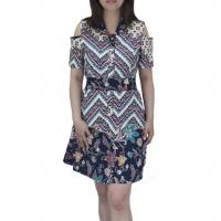Dress batik wanita shoulder off / sabrina bahan katun strecth