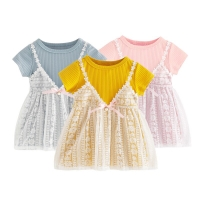 Fake Two-Piece Lace Dress for Newborn Baby / Gaun Dres Anak Bayi