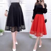 Nikita Midi Flare Lace Skirt Rok Korea Wanita Impor Best Seller 861
