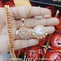 xuping set perhiasan kalung gelang cincin lapis emas putih 24k 1556