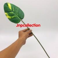 Bunga artificial tangkai panjang srirejeki hijau karet