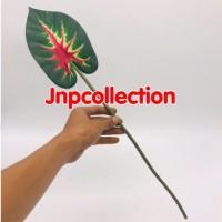 Bunga artificial tangkai panjang srirejeki merah karet