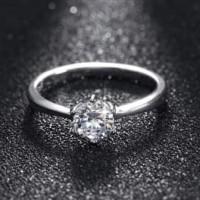 cincin silver lapis emas putih batu berlian kecil simpel klasik 2974