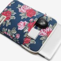Tas Laptop Macbook Softcase Canvaslife 13 inch Flower Verti - Blue
