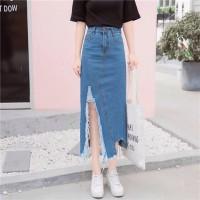 Denim Ripped Korean Skirt Rok Panjang Wanita Jeans Best Seller 1274
