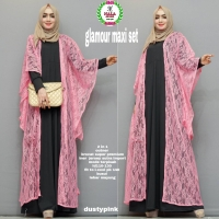 1 Set Gamis Jersey Sutra Hitam + Outer Brukat Pink