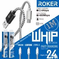 Kabel Data Android ROKER WHIP 2.4A FAST CHARGING Kabel Casan Micro V8