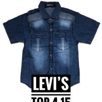 Grosir 13-15 (8-9 thn) Kemeja atasan katun jeans anak LEVIS