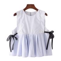 Atasan Blouse Fashion Wanita Biru Muda Printed Striped