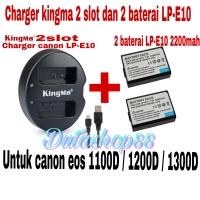 2 baterai canon LP-E10 + 1 charger kingma 2 slot eos 1100D 1200D 1300D