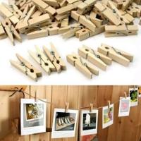 Jepitan kayu foto / klip foto / jepitan foto (isi 20) dan tali -/+1,5m