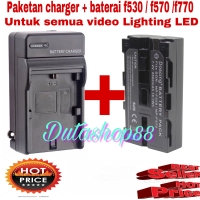 Charger + baterai son NP-F530 / F550 / F570 untuk VIDEO LIGHTING LED