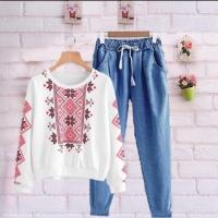 Baju atasan blouse sweater tribal setelan stelan celana panjang murah