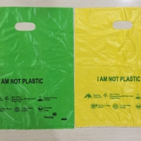 Plastik organik kantong singkong tenteng tengah