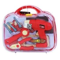 Mainan anak toolset perlengkapan tukang bor tang obeng palu paku koper