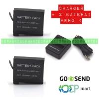 Paket charger + 2 baterai OEM gopro hero 4 silver black