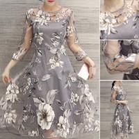 Long Dress Maxi Elegan Motif Bunga
