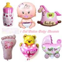 Balon Foil Baby Shower 1set Girl dekorasi birthday bayi perempuan pink
