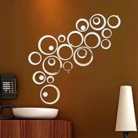 Hiasan dinding ruang tamu unik lingkaran motif kaca cermin
