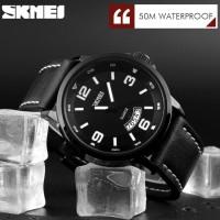 Jam Tangan Pria SKMEI 9115 Quartz Strap Kulit - Anti Air (ORIGINAL)