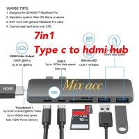 USB Type C Hub to HDMI Adapter Macbook pro USB 3.0 with SDTF Card