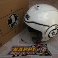 Helm halfface AGV fluid dobel visor putih glossy original Italy sizeXL
