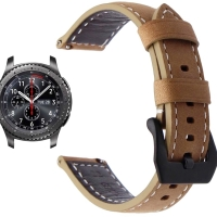 Samsung Gear S3 Frontier/Classic Strap, Leather Watchband Brown