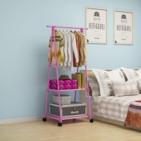 Triangle Stand Hanger Rak Buku Baju Serbaguna Dengan 4 Roda MEGAHOME
