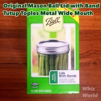 Original Mason Ball Jar Lid with Band Tutup Toples Metal Wide Mouth