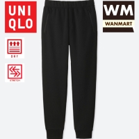UNIQLO Men Pants Celana Sweat Dry Stretch Jogger Training Pria Black