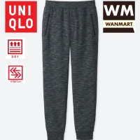 UNIQLO Men Celana Sweat Dry Stretch Jogger Training Pria Dark Gray