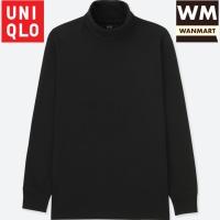 UNIQLO T-Shirt Kaos Pria Soft Touch Turtle Neck Lengan Panjang Black