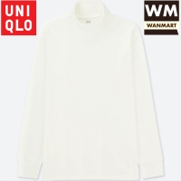UNIQLO T-Shirt Kaos Pria Soft Touch Turtle Neck Lengan Panjang White