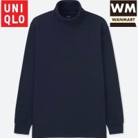 UNIQLO T-Shirt Kaos Pria Soft Touch Turtle Neck Lengan Panjang Navy