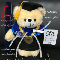 Boneka Wisuda Custom Teddy Bear Cream +-40cm BEST SELLER, BEST QUALITY