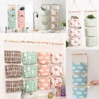 Pouch gantung kayu 3 sekat motif organizer storage bag