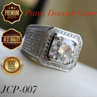 Cincin Pria Silver Perak Lapis Emas 18k Batu Cubic Zirconia AAA JCP007