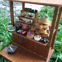 Miniatur clay makanan jepang dan Chinese Food gerobak / warung
