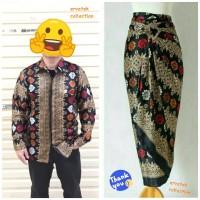 Couple Batik CBPJL04 Kemeja Tangan Panjang dan Rok Lilit Serut Hitam