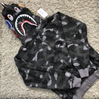 HOODIE JAKET BAPE BATHING APE SHARK FULL ZIP BLACK GRADE AUTHENTIC 1:1