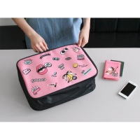Tas Koper Motif Vogue Pink | Mini Travel Bag Luggage Storage Organizer